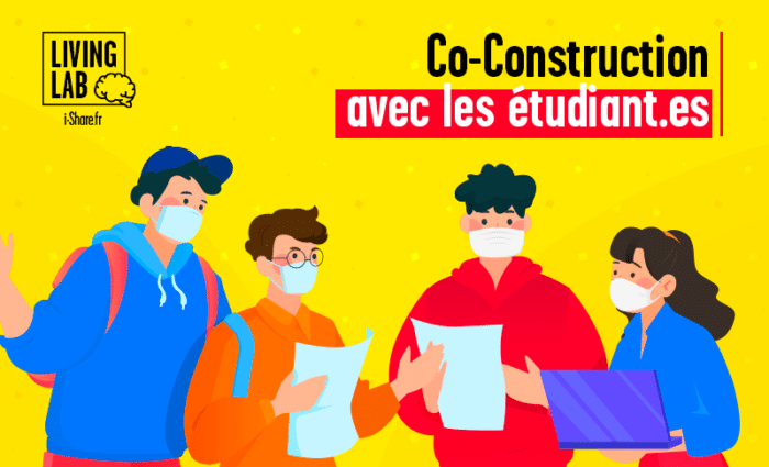 "Illustration de l'article ""i-Share en mode living-lab 1/3"", des étudiants échangent ensemble."